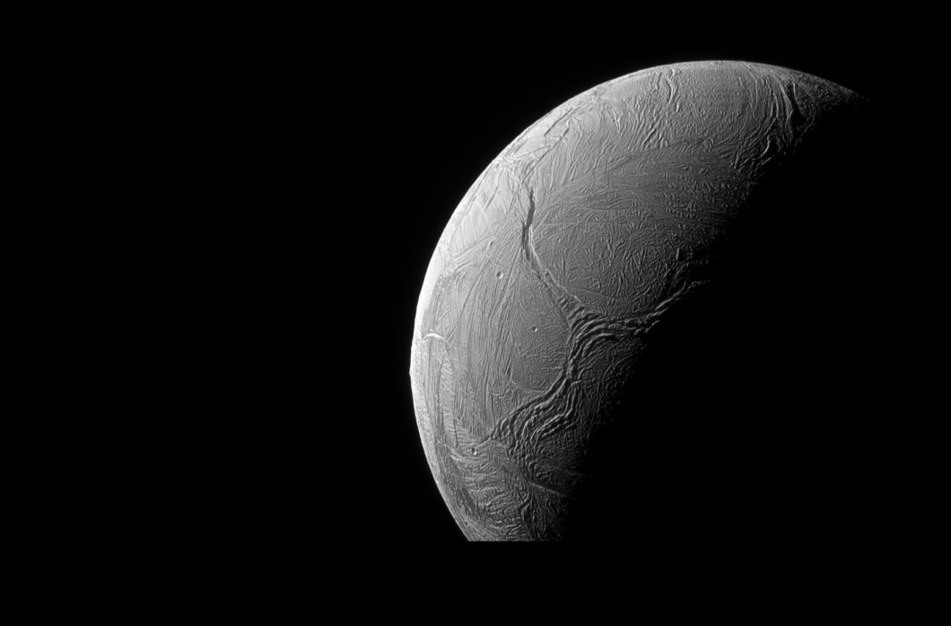 The Cassini orbiter, which was designed and developed at JPL, captures a Y-shaped tectonic feature on the icy Enceladus, Saturn's sixth-largest moon. (Courtesy NASA/JPL-Caltech/Space Science Institute)