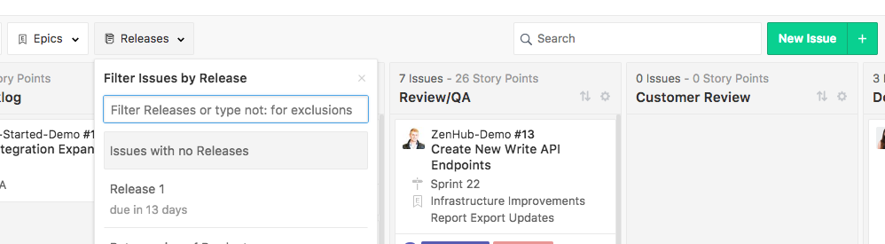 Filter the ZenHub Board by Issues not assigned to a Release