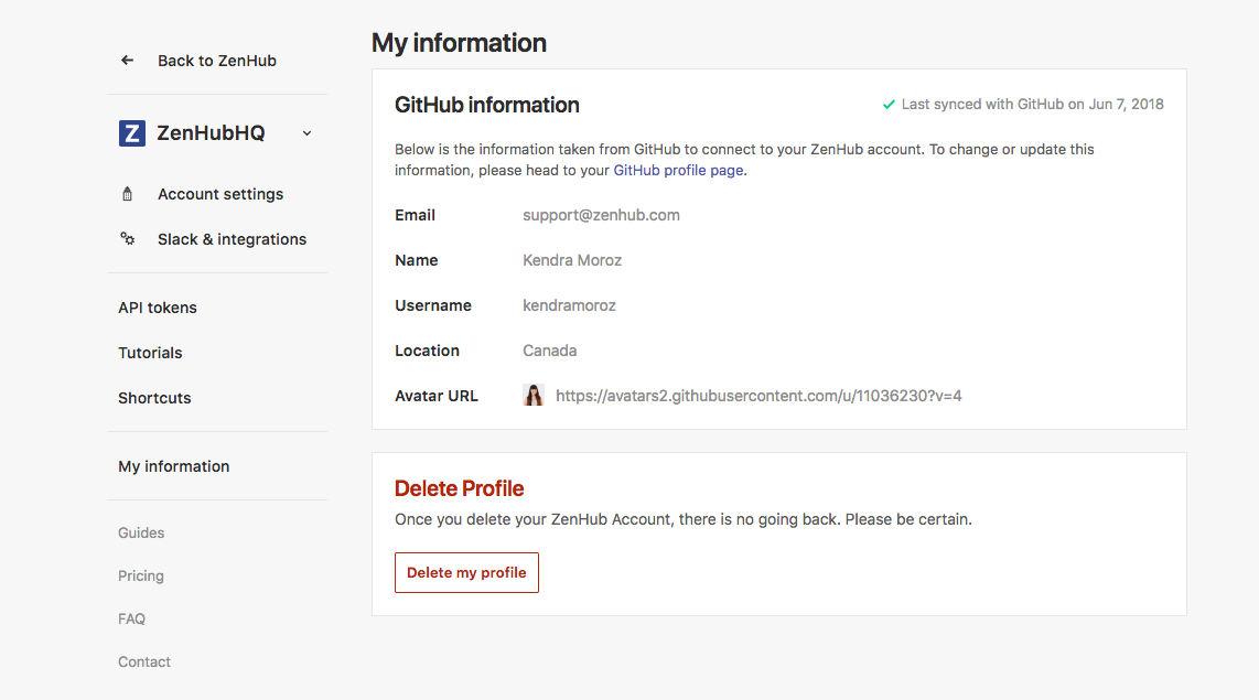 My information and delete profile in the dashboard