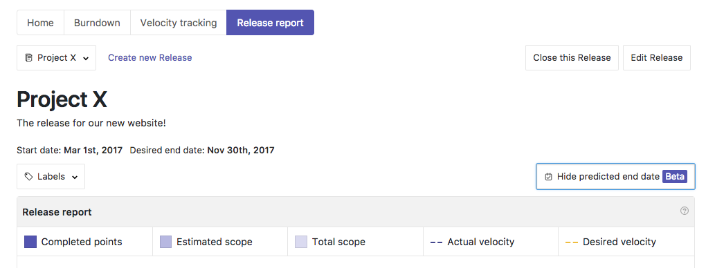 Using Release Reports in ZenHub to predicted end dates for goals and projects