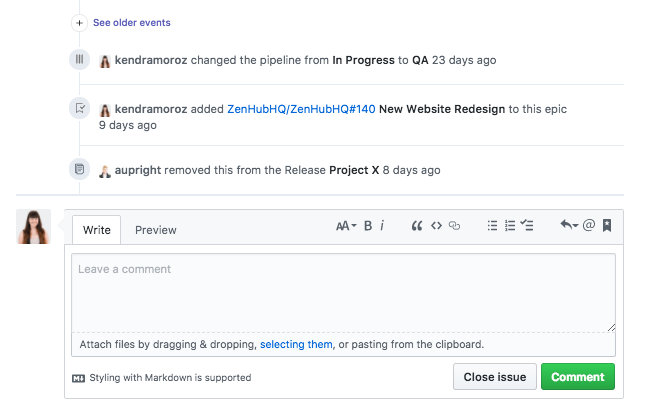 Hide Issue activity using ZenHub's default collapsed activity history in GitHub Issues