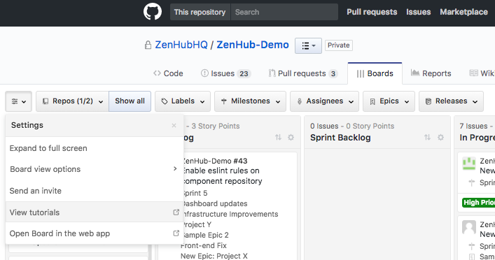 Issue Dependencies shown and filtered on the Boards in ZenHub