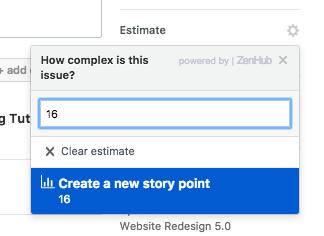 How do I create a new story point in ZenHub?