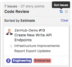 Sort the ZenHub Board by story points