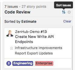 Sort the ZenHub Board by story points