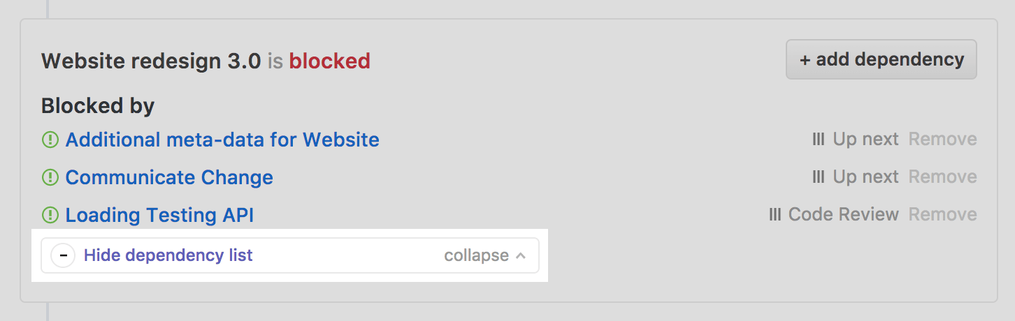 Collapse dependency section of a GitHub Issue