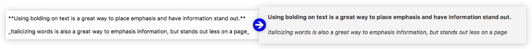 Bolding or italicizing using Markdown