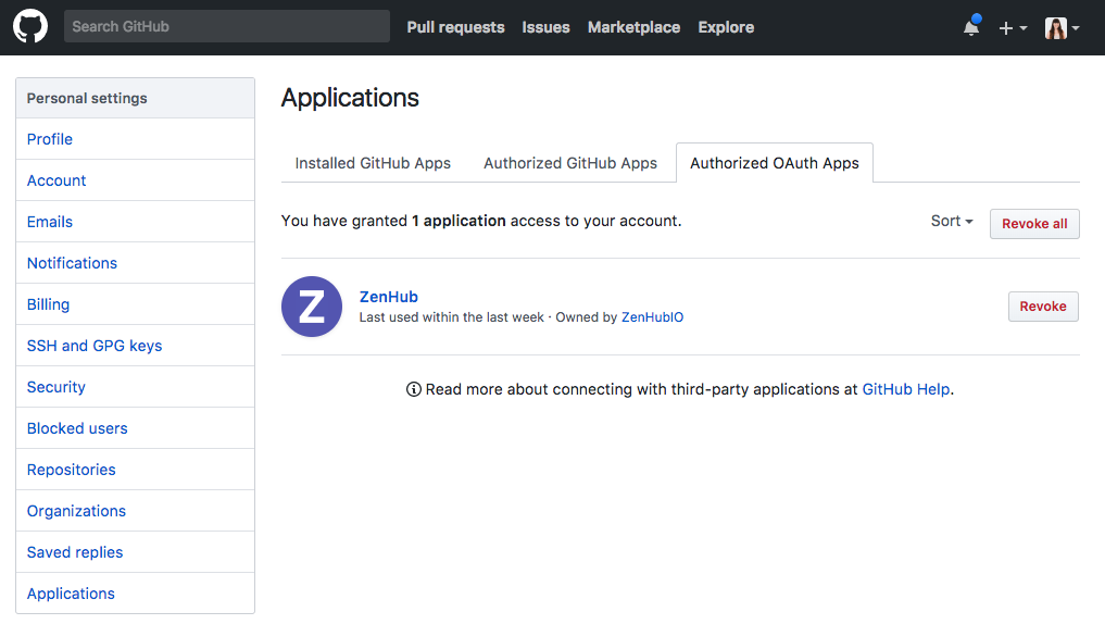 Checking authorized oAuth apps in GitHub