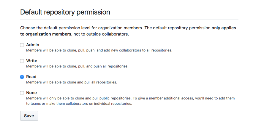 GitHub Organization Default Access Permissions