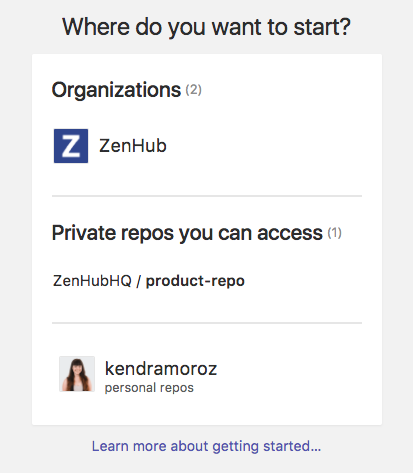 Private repos you can access, web app