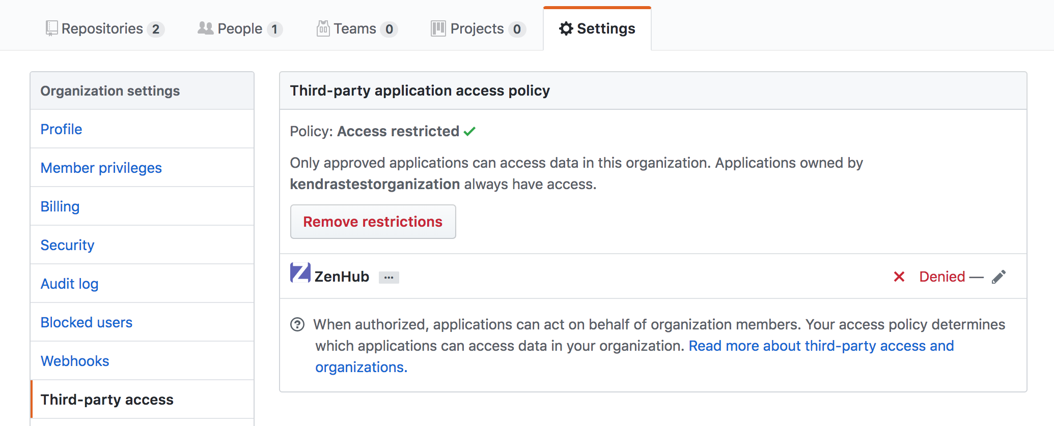 Grant GitHub organization third party access