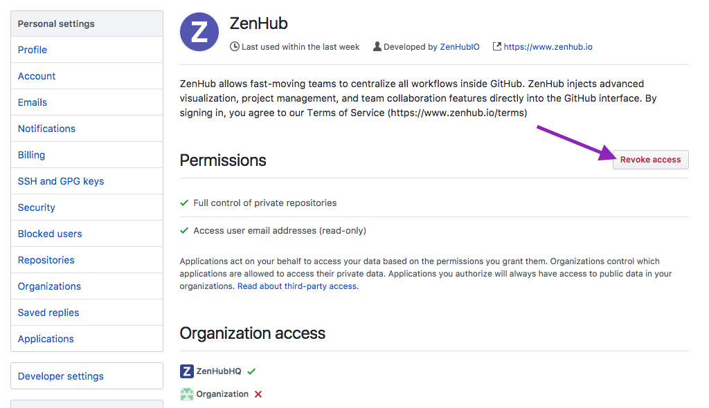 Revoking ZenHub Authentication