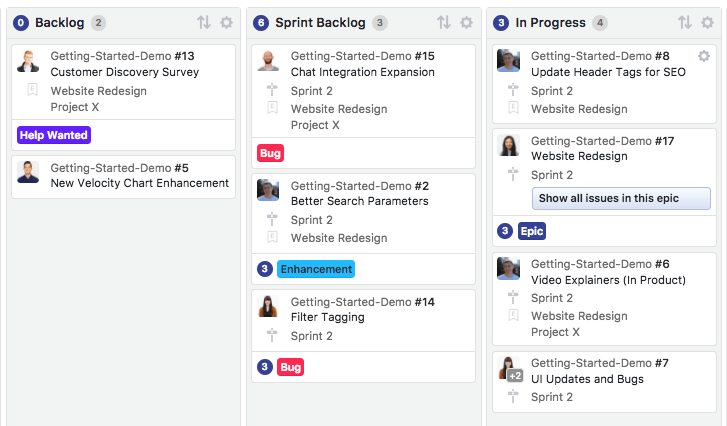 Sprint backlogs in ZenHub