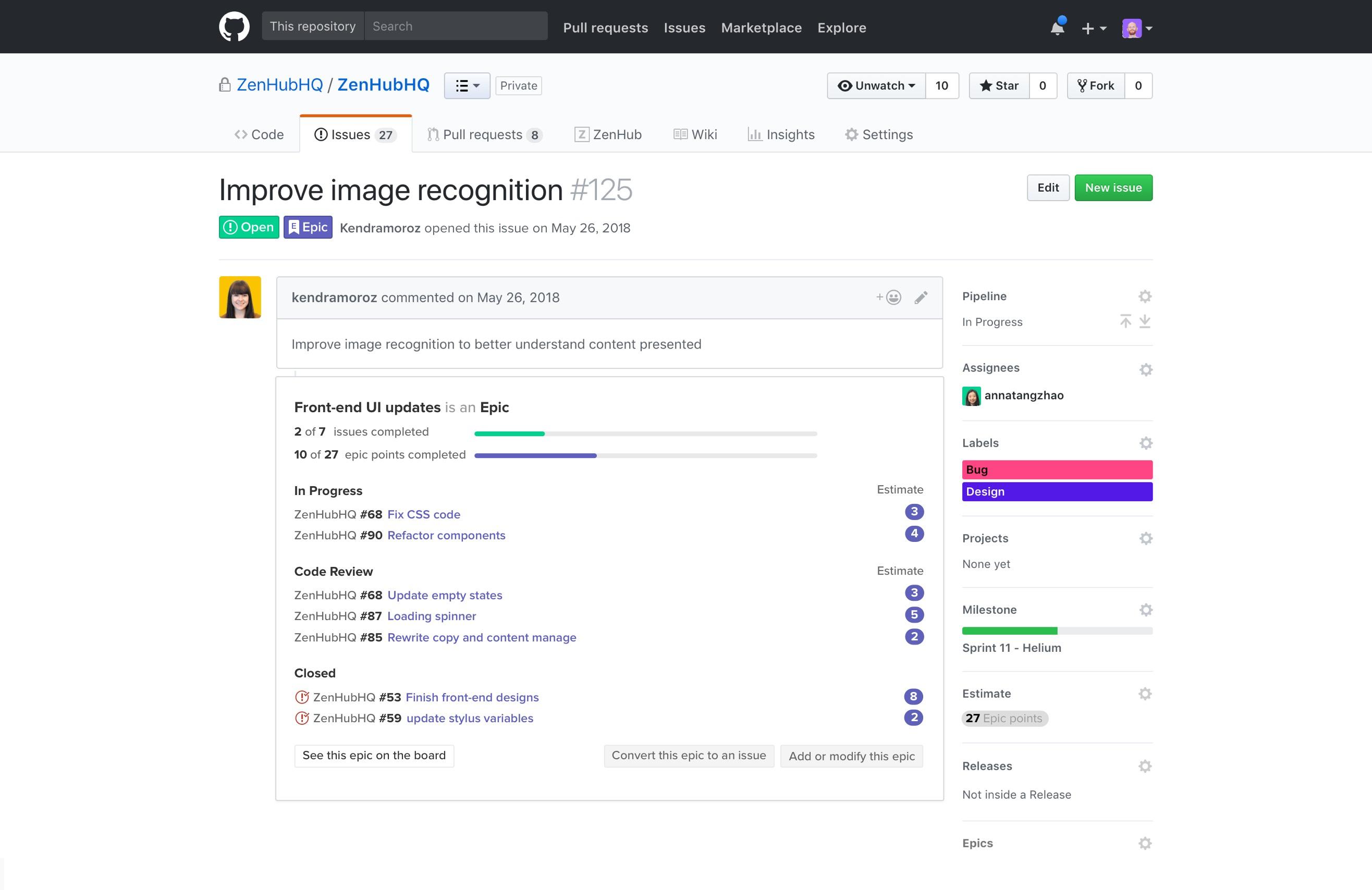 ZenHub Epics inside GitHub issue